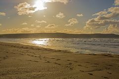 Песок Woolacombe около Barnstaple, Девона, Англии Стоковые Фото
