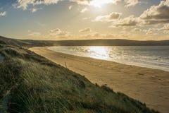 Песок Woolacombe около Barnstaple, Девона, Англии Стоковые Изображения RF