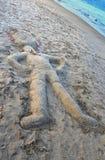 Песочное человек на пляже Стоковое Изображение RF