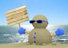 Песочное человек на пляже - 3D Стоковое Фото