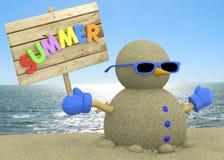 Песочное человек на пляже - 3D Стоковые Изображения RF