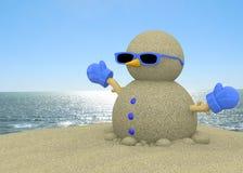 Песочное человек на пляже - 3D Стоковая Фотография RF