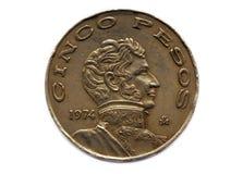 песо монетки cinco Стоковое Фото