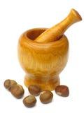 пестик ступки каштанов деревянный Стоковое Изображение