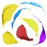 Пестрая краска брызгает стоковые изображения rf
