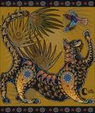 Пестрое декоративное графическое изображение, кот играя с птицей Стоковые Фото
