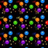 Пестротканая безшовная картина радуги покрасила шарики и ленты, звезды золота, на темной предпосылке Иллюстрация вектора, eps 10 Стоковые Фотографии RF