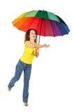 пестротканая женщина зонтика рубашки Стоковые Фото