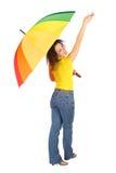 пестротканая женщина зонтика Стоковая Фотография