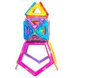 Пестротканая игрушка ` s детей блокировать пластичные детали Стоковое фото RF