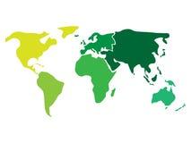 Пестротканая карта мира разделенная до 6 континентов в других цветах - Северная Америка, Южная Америка, Африка, Европа иллюстрация штока