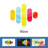Пестротканая концепция логотипа столбцов волны Стоковое Изображение