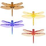 Пестротканая мозаика установленная с dragonflies изолировано иллюстрация вектора