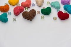 Пестротканая связанная валентинка Стоковая Фотография
