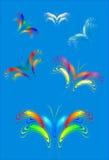 Пестротканые декоративные бабочки иллюстрация штока