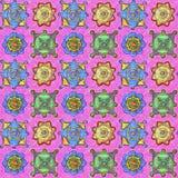 Пестротканые детали на розовой предпосылке вычерченная картина руки безшовная иллюстрация вектора