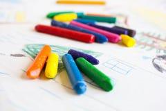 Пестротканые карандаши воска стоковая фотография rf