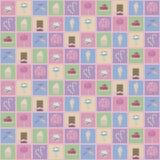 Пестротканые квадраты с чертежами милых помадок: мороженое, donuts и булочки украшают дырочками картину вектора безшовную иллюстрация вектора
