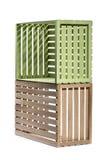 Пестротканые коробки деревянных предкрылков на белизне Стоковая Фотография