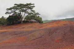 Пестротканые песочные дюны Chamarel, Маврикий Стоковые Фото