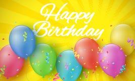 Пестротканые праздничные воздушные шары на шарже желтеют предпосылку с полутоновым изображением и лучами надпись дня рождения сча Стоковые Изображения RF