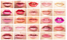 Пестротканые рти Комплект губ женщин Яркий состав & косметики Стоковая Фотография