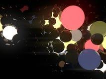Пестротканые светящие накаляя шарики на черной предпосылке перевод 3d Иллюстрация вектора