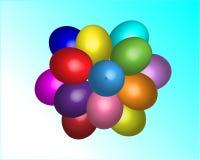 Пестротканые шарики пасхи в небе иллюстрация вектора