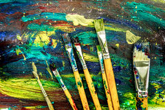 Пестротканый дизайн краски с щетками для абстрактной предпосылки текстуры Стоковое Фото
