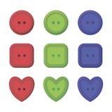 Пестротканый круг кнопок, квадратный и в форме сердц красный цвет, зеленый цвет и синь иллюстрация штока
