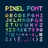 Пестротканый шрифт пиксела градиента, алфавит Стоковые Изображения