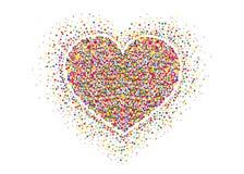 Пестротканый confetti радуги в форме сердца вектор Стоковое Изображение