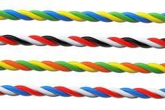 4 пестротканых кабеля компьютера Стоковое Изображение