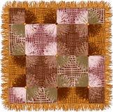 Пестрый гобелен с grunge striped элементы квадрата и круга в желтых, коричневых, бежевых цветах иллюстрация вектора