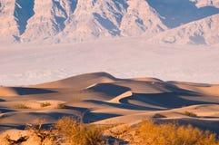 Песчанные дюны Mesquite плоские в национальном парке Death Valley, CA, США стоковая фотография