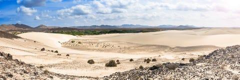 Песчанные дюны в Viana дезертируют - Deserto de Viana в Boavista - накидку Стоковое фото RF