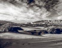 Песчанные дюны и следы ноги Стоковое Изображение