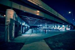 Песчаный и страшный парк конька города на ноче в городском Чикаго Стоковые Фотографии RF