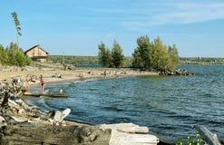 Песчаный нанос с деревьями морем Стоковое Изображение