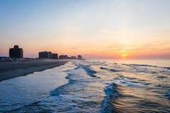Песчаный пляж в пляже города ventnor в Атлантик-Сити, Нью-Джерси a стоковые изображения