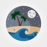 Песчаный пляж ночи Стоковые Фотографии RF