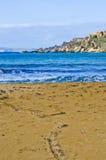 Песчаный пляж в зиме, Мальта стоковое изображение
