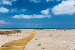 Песчаный пляж в del Эбре перепада Стоковое Изображение RF