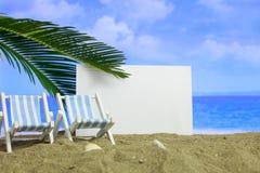 Песчаный пляж лета - лист чистого листа бумаги Стоковая Фотография RF