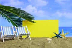 Песчаный пляж лета - лист чистого листа бумаги Стоковое Изображение RF