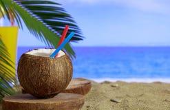 Песчаный пляж лета - coctails и космос экземпляра Стоковые Изображения RF