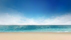 Песчаный пляж с морем и небом затишья Стоковое Изображение