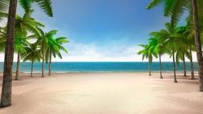 Песчаный пляж с морем и тропическими ладонями Стоковые Изображения