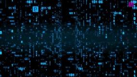 Петля предпосылки бинарного кода мухы цифров Сеть бинарного кода данных иллюстрация вектора