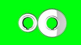 Петля шестерней серебра вращает на зеленой предпосылке chromakey бесплатная иллюстрация